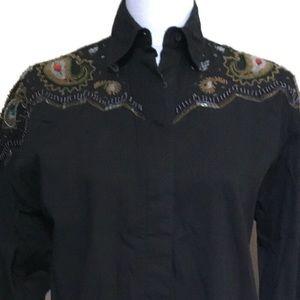 Vintage 90s WRANGLER black Western beaded shirt S